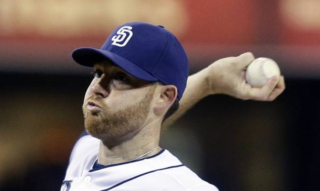 San Diego Padres starting pitcher Ian Kennedy works against the Arizona Diamondbacks in the first inning of a baseball game Wednesday, Sept. 25, 2013, in San Diego. (AP Photo/Lenny Ignelzi)