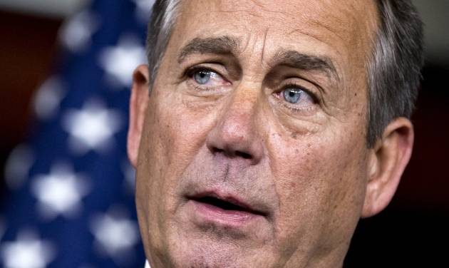 """House Speaker John Boehner of Ohio accuses President Barack Obama of not being serious about cutting government spending, Thursday, Dec. 13, 2012, during a news conference on Capitol Hill in Washington. Boehner is insisting that Obama wants far more in tax increases than spending reductions and appears willing to walk the economy """"right up to the fiscal cliff.""""   (AP Photo/J. Scott Applewhite)"""