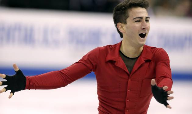 Max Aaron competes during the senior mens free skate program at the U.S. figure skating championships, Sunday, Jan. 27, 2013, in Omaha, Neb. (AP Photo/Charlie Neibergall)