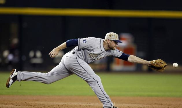 San Diego Padres third baseman Chase Headley knocks the ball into center field in the first inning of a baseball game against the Arizona Diamondbacks, Monday, May 26, 2014, in Phoenix. (AP Photo/Rick Scuteri)