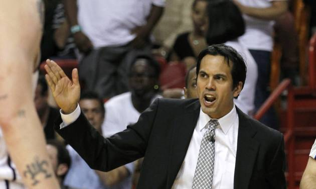 Miami Heat head coach Erik Spoelstra shouts instructions to his team during the second half of an NBA basketball game against the New York Knicks, Thursday, Dec, 6, 2012, in Miami. The Knicks won 112-92. (AP Photo/Alan Diaz)