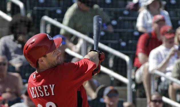 Cincinnati Reds' Chris Heisey watches his three-run home run off Chicago White Sox starting pitcher John Danks in the fourth inning of a spring training baseball game Tuesday, March 19, 2013, in Goodyear, Ariz. (AP Photo/Mark Duncan)
