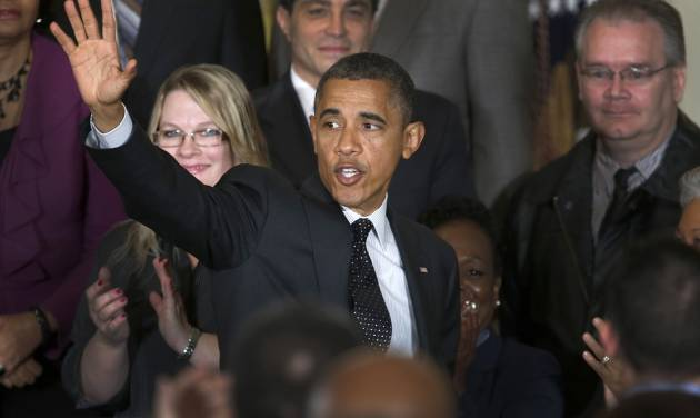 President Barack Obama waves as he leaves the East Room of the White House in Washington, Friday, Nov. 9, 2012, after he spoke about the economy and the deficit. (AP Photo/Carolyn Kaster)