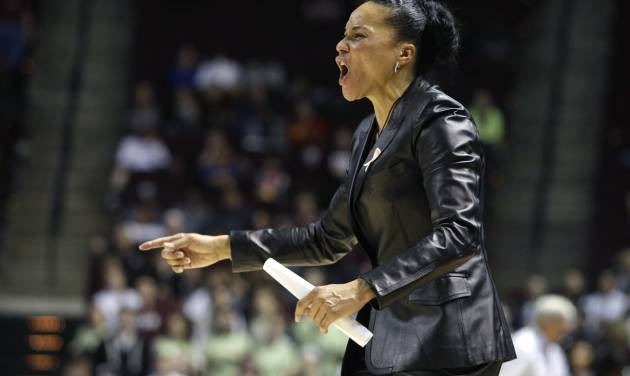 South Carolina coach Dawn Staley reacts during the second half of her team's NCAA college basketball game against Texas A&M, Thursday, Jan. 16, 2014, in College Station, Texas. (AP Photo/Patric Schneider)