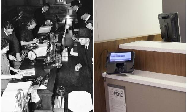 This combination of Associated Press file photos show women bank cashiers working in a London branch of the Midland Bank on July 23, 1940, left, and a  JPMorgan Chase lobby in New York in March 2013. In an age when checks can be deposited by smartphone and almost everyone retrieves cash from ATMs, the corner bank can seem a relic, with its paper deposit slips, marble countertops and human tellers behind glass partitions. (AP Photo/File)