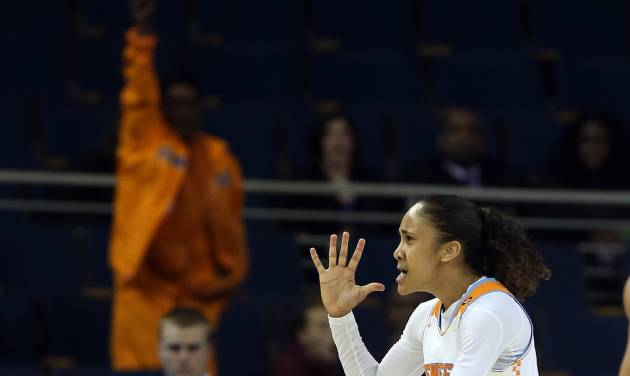Tennessee guard Meighan Simmons celebrates after scoring the go-ahead basket late in the second half against LSU in an NCAA college basketball game in the quarterfinals of the Southeastern Conference women's tournament, Friday, March 7, 2014, in Duluth, Ga. Tennessee won 77-65. (AP Photo/Jason Getz)