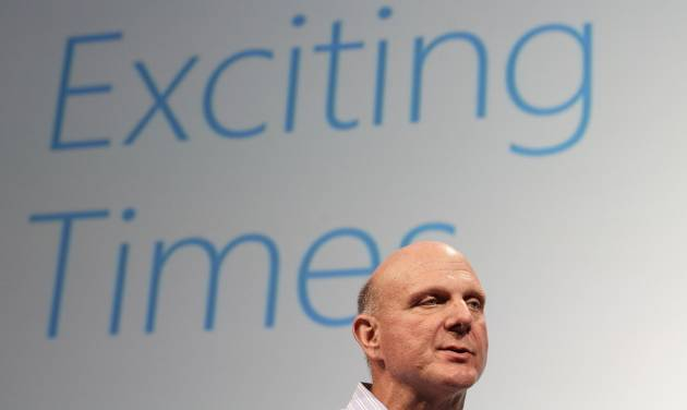 FILE - In this Monday, July 16, 2012, file photo, Microsoft CEO Steve Ballmer speaks at a Microsoft event in San Francisco. Ballmer can't afford to be wrong about Windows 8. If the dramatic overhaul of the Windows operating system flops, it will reinforce perceptions that Microsoft is falling behind other technology giants as the world moves on to smartphones, tablets and other sleek devices from Apple, Google and Amazon. (AP Photo/Jeff Chiu, File)