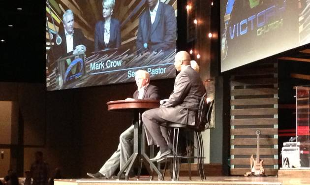 Former Major League Baseball star Darryl Strawberry, right, speaks alongside his wife Tracy and Victory Church pastor Mark Crow on Sunday at Victory Church in Warr Acres. Photo by Jacob Unruh, The Oklahoman