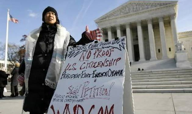 Theresa Cao speaks about President-elect Barack Obama's proof of U.S.  citizenship outside the Supreme Court in Washington, Friday Dec. 5, 2008. (AP Photo/Jose Luis Magana)
