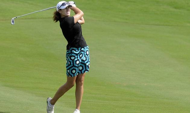 Karlin Beck plays a practice round for the Navistar LPGA Tour Classic golf tournament, Monday, Sept. 17, 2012, at RTJ Golf Trail Capitol Hill in Prattville, Ala. (AP Photo/The Montgomery Advertiser, Mickey Welsh) NO SALES