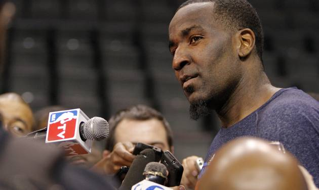 Oklahoma City's Kendrick Perkins talks to the media during the NBA Finals practice day at the Chesapeake Energy Arena on Monday, June 11, 2012, in Oklahoma City, Okla. Photo by Chris Landsberger, The Oklahoman