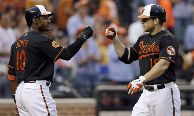 Baltimore Orioles' Adam Jones, left, greets teammate Chris Davis at home plate after Davis batted Jones in on a home run in the second inning of a baseball game against the Toronto Blue Jays, Friday, July 12, 2013, in Baltimore. (AP Photo/Patrick Semansky) ORG XMIT: MDPS104
