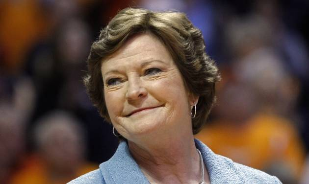 "FILE - In this Jan. 28, 2013 file photo, Tennessee head coach emeritus Pat Summitt smiles as a banner is raised in her honor before an NCAA college basketball game against Notre Dame, in Knoxville, Tenn. Summitt will remain the Tennessee women's basketball head coach emeritus next season and can continue holding the position as long as she wants it. That's according to a new contract signed in May and obtained Thursday night, July 3, 2014, through a public records request. It states that Summitt will have the title head coach emeritus ""in perpetuity, or until she chooses to relinquish it.""  (AP Photo/Wade Payne, File)"