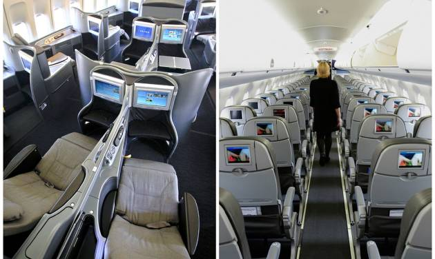 """This combination of Associated Press file photos show, on the left, a first class interior section of a United Airlines 747 plane at San Francisco International Airport in San Francisco in 2011, and on the right, the coach interior section of  a JetBlue E190 plane at  Seatac International Airport in Seattle, in 2008.  Henry Harteveldt, an airline analyst with Hudson Crossing says """"First class has become a way for a traveler to have an almost private jet-like experience."""" (AP Photo/File)"""