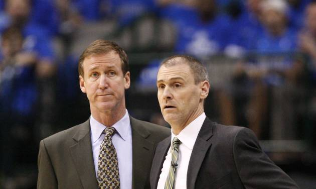 In this May 25, 2011, photo, Dallas Mavericks assistant coach Terry Stotts, left, and coach Rick Carlisle watch Game 5 of the NBA Western Conference finals basketball series against the Oklahoma City Thunder in Dallas. The Portland Trail Blazers have hired Stotts as coach. The move announced Tuesday, Aug. 7, 2012, by Trail Blazers general manager Neil Olshey fills the NBA's last coaching vacancy. (AP Photo/Tony Gutierrez)