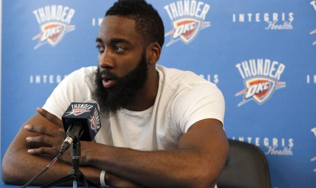OKLAHOMA CITY THUNDER NBA BASKETBALL / MUG: Oklahoma City's James Harden (13) speaks during a press conference at the Integris Health Thunder Development Center in Oklahoma City,  Saturday, June 23, 2012. Photo by Sarah Phipps, The Oklahoman