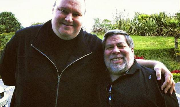 """In this May 2012 photo released by Kim Dotcom, Apple cofounder Steve Wozniak, right, and Kim Dotcom, founder of file-sharing site Megaupload, stand together in Auckland, New Zealand. Wozniak said the U.S. piracy case against Dotcom is """"hokey"""" and a threat to Internet innovation. Wozniak and Dotcom spoke out against the federal case in separate interviews on Wednesday, June 27, 2012. (AP Photo/Kim Dotcom)"""