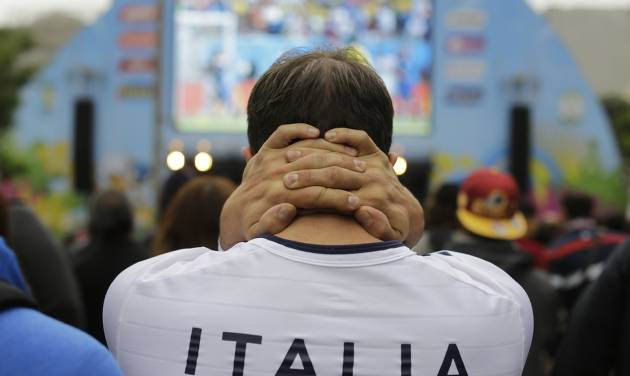 An Italy soccer fan watches his team's World Cup match with Costa Rica inside the FIFA Fan Fest area in Sao Paulo, Brazil, Friday, June 20, 2014. Italy lost 1-0 to Costa Rica. (AP Photo/Nelson Antoine)