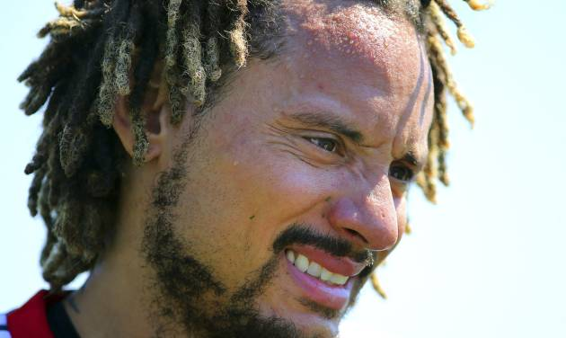New England Revolution's newest player Jermaine Jones looks on during a soccer training session Tuesday, Aug. 26, 2014, in Foxborough, Mass. (AP Photo/The Boston Globe, John Tlumacki)  BOSTON HERALD OUT, QUINCY OUT; NO SALES