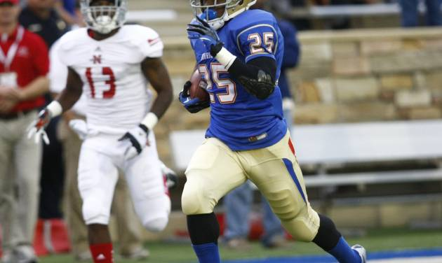 Tulsa's Ja'Terian Douglas heads for the end zone during the first half of NCAA college football game against Nicholls State, Saturday, Sept. 15, 2012, in Tulsa, Okla. (AP Photo/Tulsa World, Tom Gilbert) ONLINE OUT; TV OUT; TULSA OUT