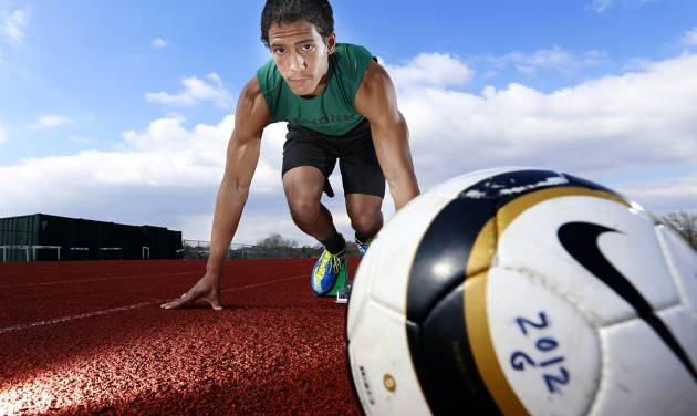 Edmond Santa Fe soccer player and track runner Matthew Giudice poses for a new photo at Edmond Santa Fe  in Edmond, Okla., Tuesday, April 2, 2013. Photo by Sarah Phipps, The Oklahoman