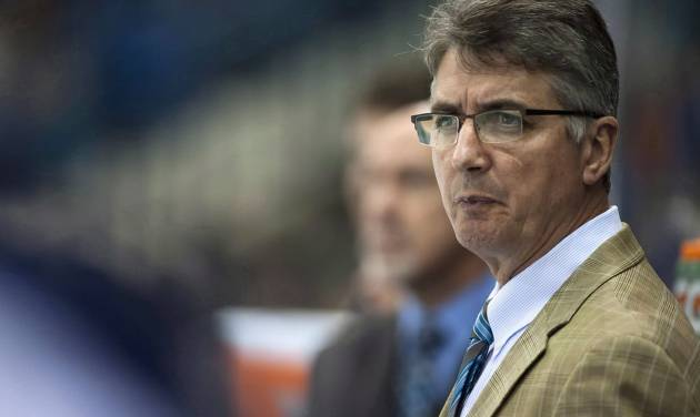 FILE -  In a Sept. 27, 2013, file photo Winnipeg Jets head coach Claude Noel speaks to his team during the first period of an NHL pre-season hockey game against the Boston Bruins in Saskatoon, Saskatchewan. The Jets have fired Noel and hired Paul Maurice as his replacement.  (AP Photo/The Canadian Press, Liam Richards)