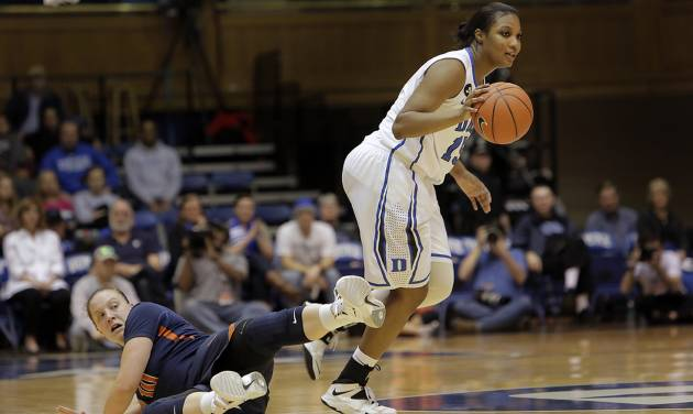 Duke's Richa Jackson dribbles the ball ahead of  Virginia's Kelsey Wolfe, left, during the second half of an NCAA women's college basketball game, Thursday, Jan. 16, 2014, in Durham, N.C. Duke won 90-55.  (AP Photo/Ted Richardson)