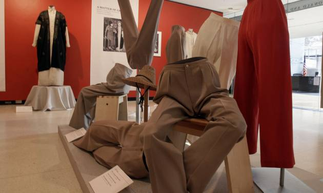 """A display of slacks and jodhpurs is shown as part of the """"Katharine Hepburn: Dressed for Stage and Screen"""" exhibit in the New York Public Library for the Performing Arts at Lincoln Center, Tuesday, Oct. 16, 2012. (AP Photo/Richard Drew)"""