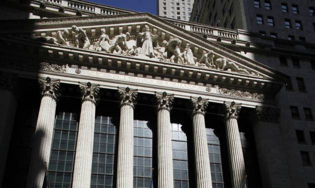 The New York Stock Exchange is shown, Monday, July 15, 2013 in New York. European stock markets were down Friday, July 25, 2014 while Asian markets took cheer from U.S. unemployment claims falling to an eight-year low. (AP Photo/Mark Lennihan)