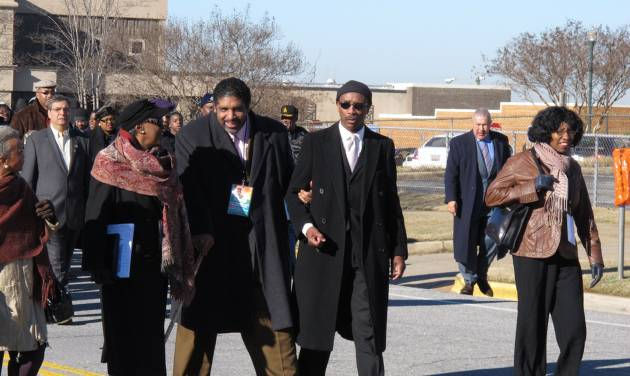 South Carolina NAACP President Lonnie Randolph, center, and North Carolina NAACP President William Barber, left, march during a Martin Luther King Day rally in Columbia, S.C. on Monday, Jan. 21, 2013. The focus of the annual rally this year was on mental health. (AP Photo/Jeffrey Collins)