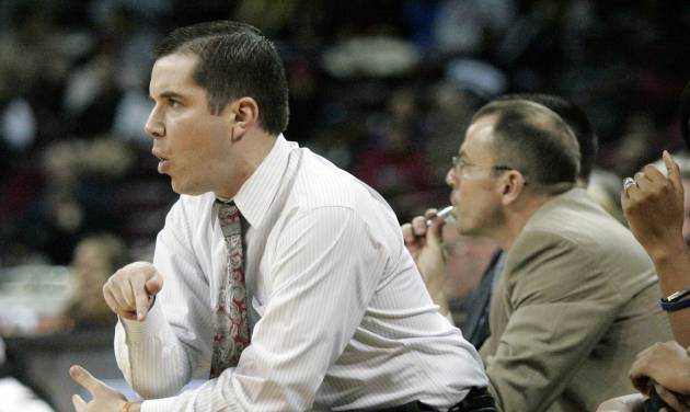 Ole Miss's coach Matt Insell is called for a techincal foul during the first half of an NCAA college basketball game against Ole Miss,Thursday, Jan. 30, 2014, in Columbia, S.C. South Carolina won 99-70. (AP Photo/Mary Ann Chastain)