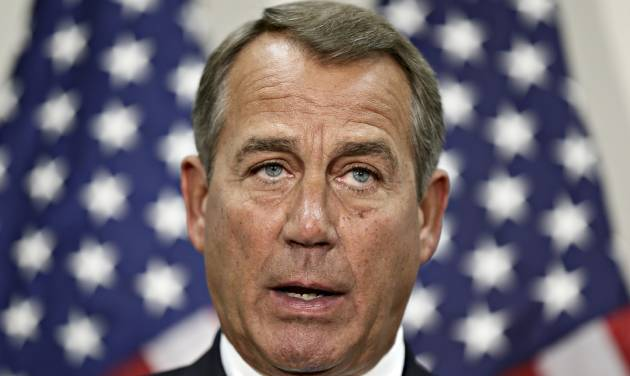FILE -In this Wednesday, Nov. 28, 2012, photo, House Speaker John Boehner of Ohio speaks during a news conference on Capitol Hill in Washington. An early gain on Wall Street is evaporating Thursday, Nov. 29, 2012, after House Speaker John Boehner said little progress was being made in budget talks in Washington. (AP Photo/J. Scott Applewhite, File)