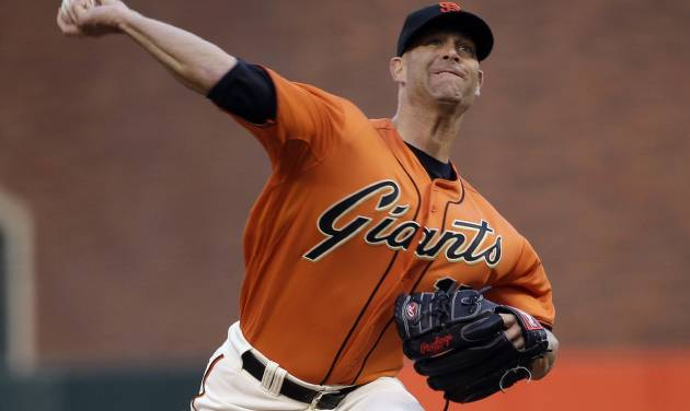 San Francisco Giants starting pitcher Tim Hudson throws to the Cleveland Indians during the first inning of a baseball game Friday, April 25, 2014, in San Francisco. (AP Photo/Marcio Jose Sanchez)