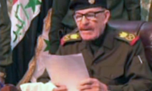 This undated image taken from video purports to show Izzat Ibrahim al-Douri. A video posted online Saturday, April 7, 2012 purports to show Izzat Ibrahim al-Douri, the highest ranking member of Saddam Hussein's ousted regime still at large, lashing out against Iraq's Shiite-led government. It was not possible to verify the authenticity of the video or determine when it was made. (AP Photo/AP Video)