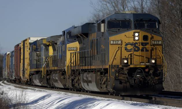 FILE - In this Friday, Jan. 18, 2013, file photo, a CSX train passes through New Scotland, N.Y.  CSX warned Thursday, Jan. 16, 2015, that it will be more difficult to reach its own profit targets for double-digit growth over the next two years because of ongoing weakness in demand for coal and because last year's results included several large, but one-time benefits. (AP Photo/Mike Groll, File)