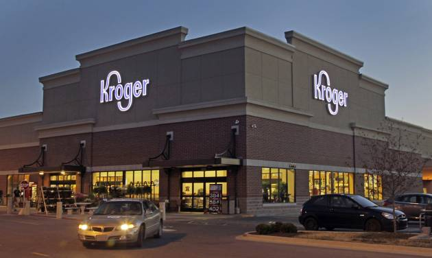 FILE - This June 12, 2012 file photo shows a Kroger store in Indianapolis. The Kroger Co. reports quarterly earnings on Thursday, March 6, 2014. (AP Photo/Michael Conroy, File)