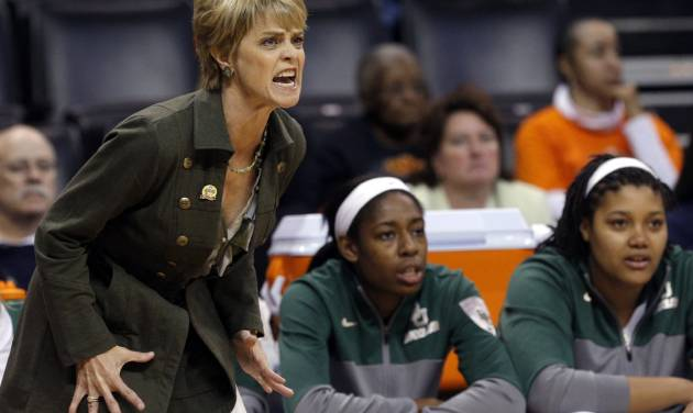 Baylor coach Kim Mulkey reacts to a call during the Women's Big 12 basketball tournament game between Baylor and Kansas at  Chesapeake Energy Arena  in Oklahoma City, Okla., Saturday, March 8, 2014. Photo by Sarah Phipps, The Oklahoman