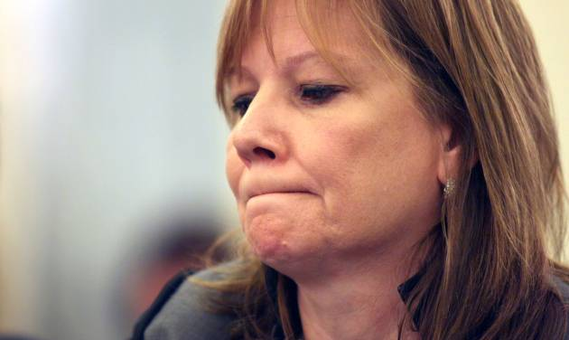 GM CEO Mary Barra pauses while testifying on Capitol Hill in Washington, Thursday, July 17, 2014, before a Senate Commerce subcommittee hearing examining accountability and corporate culture in wake of the GM recalls. (AP Photo/Lauren Victoria Burke)