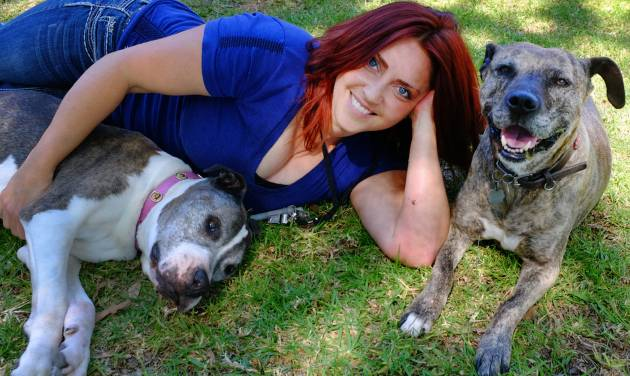 "This Friday, May 2, 2014 photo Lori Fusaro sits with Sunny, right an 18 year old Pit Bull and Gabi, 11, in the Culver City section of Los Angeles. Fusaro is set to publish a book called ""My Old Dog"" in the spring of 2015. She's shot thousands of photos for Los Angeles Animal Services, which puts old (and young) dogs on their website in hopes they will attract exactly the right owner. (AP Photo/Richard Vogel)"
