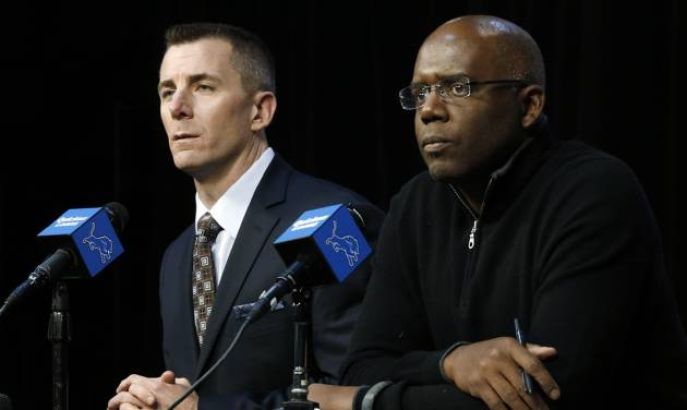 Detroit Lions president Tom Lewand, left, and general manager Martin Mayhew announce head coach Jim Schwartz was fired in Allen Park, Mich., Monday, Dec. 30, 2013. The Lions made the move Monday, one day after they ended their late-season slide with a loss at Minnesota. Detroit flopped to a 7-9 record this year after a 6-3 record start put the franchise in a position to win a NFL football division title for the first time since 1993. (AP Photo/Paul Sancya)
