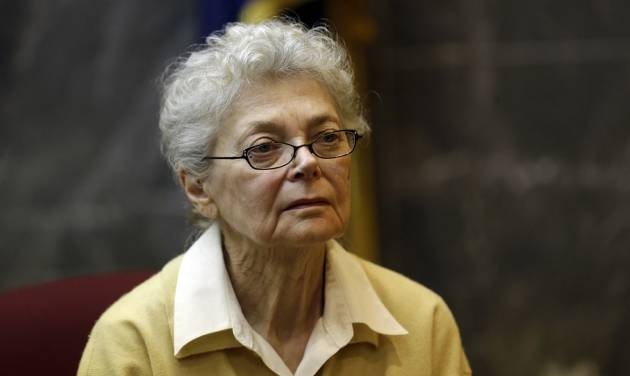 In this March 13, 2013 file photo, Sandra Layne testifies in the Oakland County Circuit Court in Pontiac, Mich. The 75-year-old Detroit-area woman was convicted of second-degree murder on Tuesday, March 19, 2013, for shooting her 17-year-old grandson six times during an argument last spring.  (AP Photo/Paul Sancya, file)