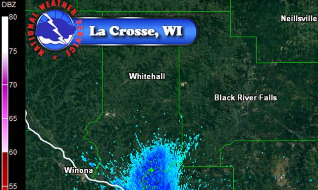 This July 20, 2014 photo provided by the National Weather Service in LaCrosse, Wis., shows a massive swarm of mayflies captured on radar as they emerge from the Mississippi River and drift north with the wind. A NOAA spokesman says they know the images show insects when the swarm appears over the river with no warning, but they don't know what kind of bug it is until people start calling _ mayflies in this case. (AP Photo/National Weather Service)