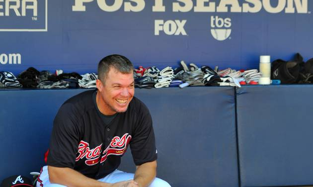 Atlanta Braves Chipper Jones takes a break in the dugout during batting practice at Turner Field Thursday, Oct. 4, 2012, in Atlanta. The Braves take on St. Louis Cardinals in the NL wild-card baseball game on Friday. (AP Photo/Atlanta Journal-Constitution, Brant Sanderlin) MARIETTA DAILY OUT; GWINNETT DAILY POST OUT; LOCAL TV OUT; WXIA-TV OUT; WGCL-TV OUT