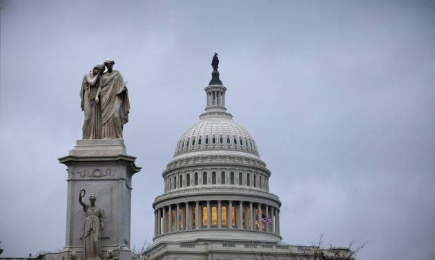 This Tuesday, Nov. 13, 2012, photo shows the Capital building in Washington. The federal government started the 2013 budget year with a $120 billion deficit, an indication that the U.S. is on a path to its fifth straight $1 trillion-plus deficit. Another soaring deficit puts added pressure on President Barack Obama and Congress to seek a budget deal in the coming weeks. (AP Photo/J. Scott Applewhite)