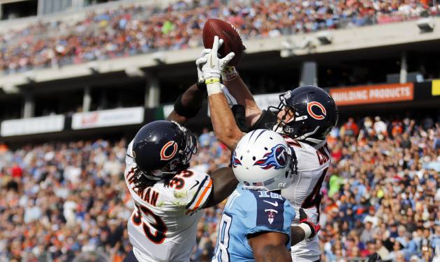 Chicago Bears defenders Charles Tillman (33) and Chris Conte (47) break up a pass in the end zone intended for Tennessee Titans wide receiver Kenny Britt (18) in the second quarter of an NFL football game on Sunday, Nov. 4, 2012, in Nashville, Tenn. (AP Photo/Joe Howell)