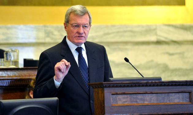 U.S. Sen. Max Baucus addresses the Montana Legislature Thursday, Jan. 10, 213 in the House Chambers. (AP Photo/The Independent Record, Dylan Brown)