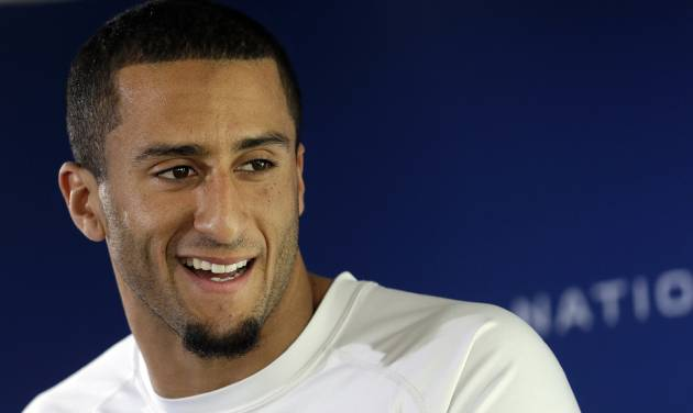 San Francisco 49ers quarterback Colin Kaepernick speaks at an NFL football media availability in Santa Clara, Calif., Wednesday, Jan. 16, 2013. The 49ers are scheduled to face the Atlanta Falcons in the NFC championship game on Sunday. (AP Photo/Jeff Chiu)