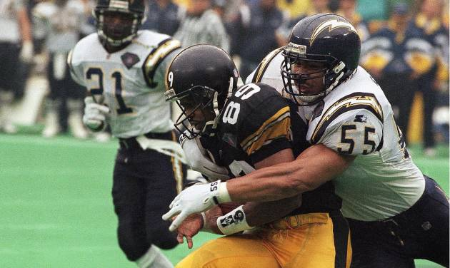FILE - In this Jan. 15, 1995, file photo, San Diego Chargers' Junior Seau, right, tackles Pittsburgh Steelers Ernie Mills during the first quarter of the AFC Championship NFL football game in Pittsburgh. Senior U.S. District Judge Anita Brody in Philadelphia, announced Thursday, Aug. 29, 2013, that the NFL and more than 4,500 former players want to settle concussion-related lawsuits for $765 million. The plaintiffs include at least 10 members of the Pro Football Hall of Fame, along with  and the family of  Seau, who committed suicide last year. The global settlement would fund medical exams, concussion-related compensation and medical research.  (AP Photo/Keith Srakocic, File)