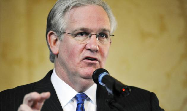 FILE - In this Feb. 9, 2012 file photo, Gov. Jay Nixon talks to members of the media during a question and answer session at the Governor's Mansion in Jefferson City, Mo. Nixon on Friday, Dec. 28, 2012 said that reorganizing Missouri's environmental regulatory agency will be among his priorities next year, and indicated he wouldn't back down from trying to expand Medicaid even though Republicans control the Legislature. (AP Photo/Kelley McCall, File)