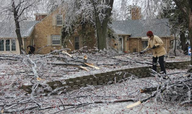 Worthington resident Kathy Carlson picks up tree branches that came down as a result of eight-tenths of an inch of ice that ravaged southwest Minnesota the day before, Wednesday, April 10, 2013 in Worthington, Minn. (AP Photo/The Daily Globe, Julie Buntjer)